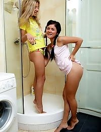Lesbian Teens Go Wet And Wild In The Shower pics