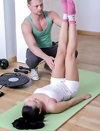 Gorgeous Brunette Babe Fucked By Her Brawny Trainer pics