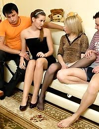 Sexy And Slutty Teen Foursome With Two Girls And Two Guys pics